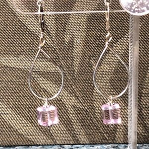 Sterling Silver and pink crystal earrings